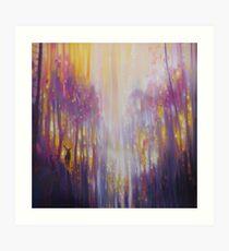 Fabian Waits - semi abstract landscape in yellow and purple Art Print