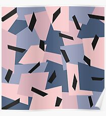 Patches Abstract Pattern Black, Blue, Pink, Gray Poster
