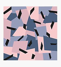 Patches Abstract Pattern Black, Blue, Pink, Gray Photographic Print