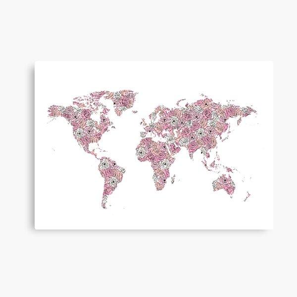 Floral World Map Canvas Print