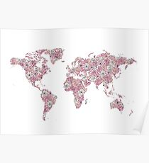 Floral world map posters redbubble floral world map poster gumiabroncs Image collections