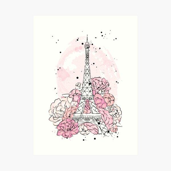Eiffel Tower Peonies Art Print