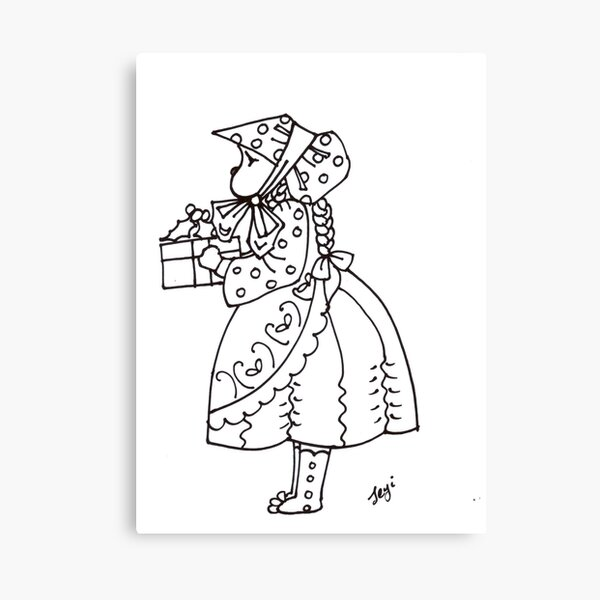 Little bonnet girl Canvas Print