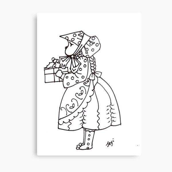 Little bonnet girl Metal Print