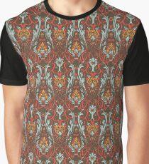 Blue and orange dark leaves pattern Graphic T-Shirt