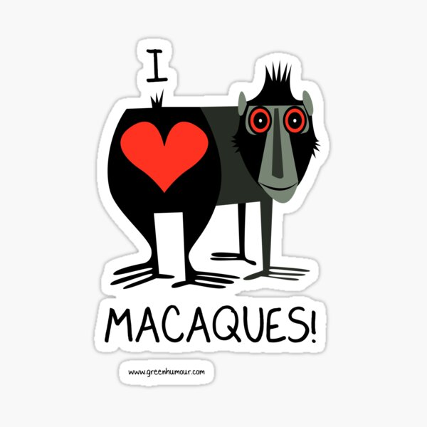I Love Macaques Sticker