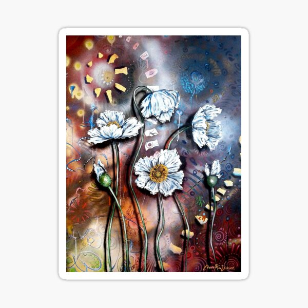 White Poppies (Finding Beauty in Chaos Series) Sticker