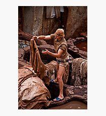 Morocco. Fes. Fes el Bali. Tanneries. Workman. Photographic Print