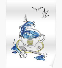 a tea Cup with sea inside Poster