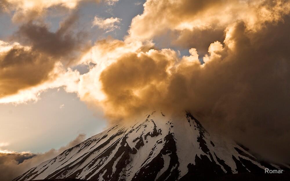 Sunset over Mt Ngauruhoe by Romar