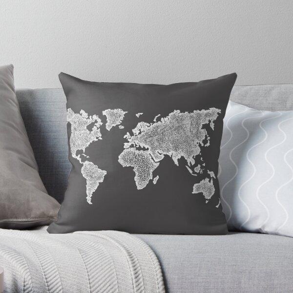 World Map Dot Painting white Throw Pillow