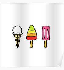 ice cream doodle icons Poster
