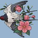 Swallow flying through the blossoms by Wieskunde
