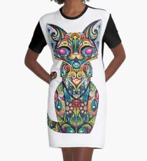 Colorful Cat Graphic T-Shirt Dress