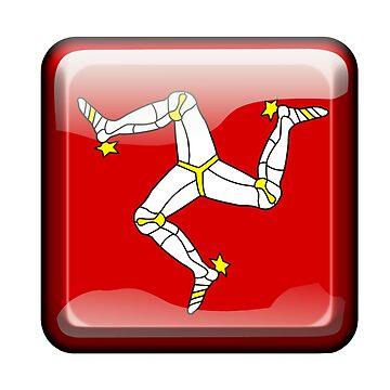 MANX FLAG, Badge, Isle of Man, MANX, LEGS, Button, Brattagh Vannin, Triskelion, Ny tree cassyn by TOMSREDBUBBLE