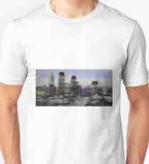 London City Skyline Glitch Art Unisex T-Shirt