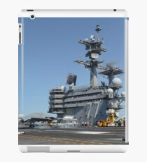 An X-47B unmanned combat air system conducts a touch and go landing. iPad Case/Skin