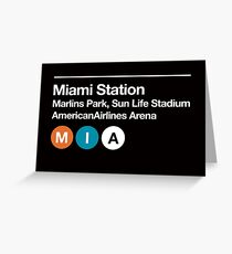 Miami Pro Sports Venue Subway Sign Greeting Card