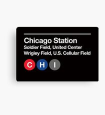 Chicago Pro Sports Venue Subway Sign Canvas Print