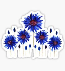 Bright blue water color anemone print Sticker