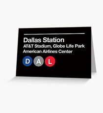Dallas Pro Sports Venues Subway Sign Greeting Card