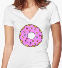 Cute Kawaii Pink Donut Doughnut Food Cartoon Women's Fitted V-Neck T-Shirt