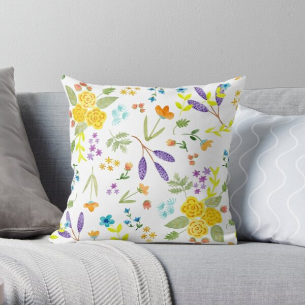 Spring Fling Watercolor Pattern Throw Pillow