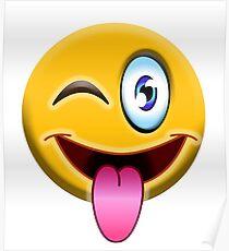 CRAZY, MAD, Emoji, on Black Poster