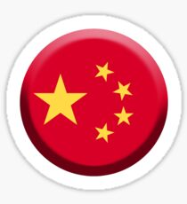 CHINA FLAG, BUTTON Sticker