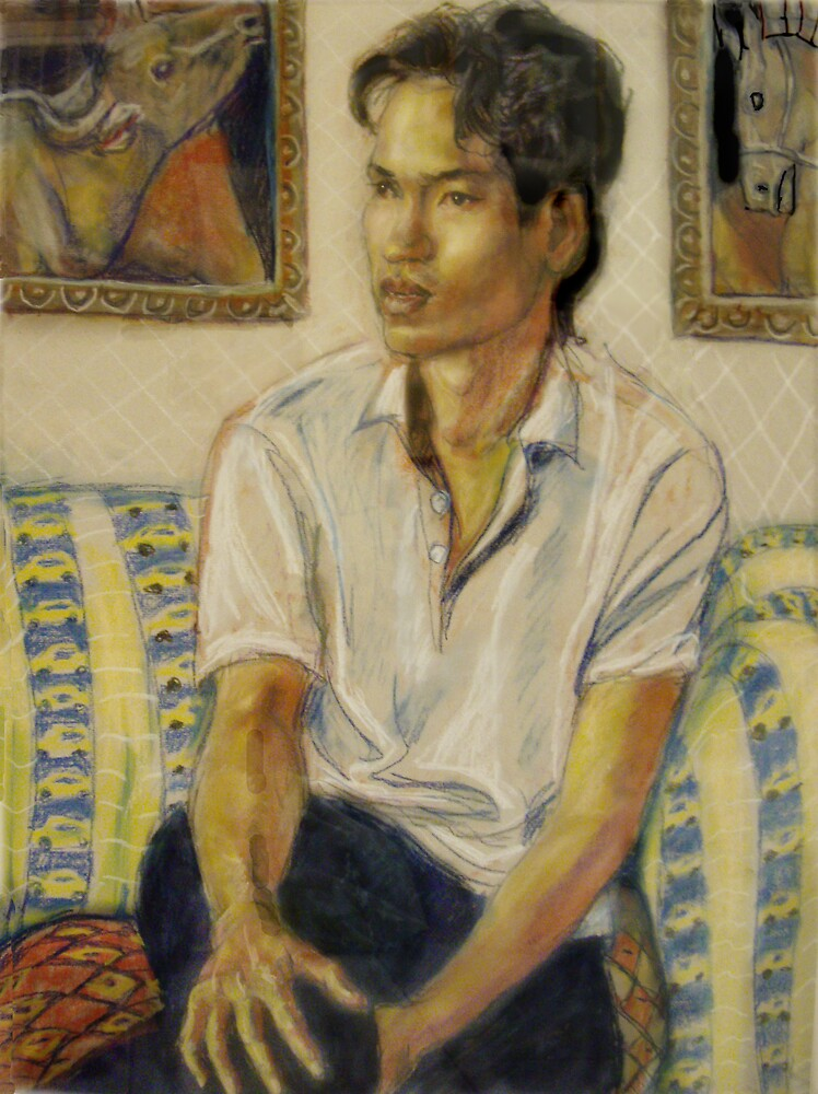 Man seated on a couch by Fiona O'Beirne