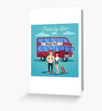 Bus Travel. Travel Banner. Tourism Industry. Active People. Girl with Baggage. Bus Tour. Man with Baggage. Happy Couple Greeting Card