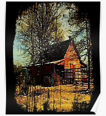 Rural watercolor landscape Autumn western country red barn  Poster
