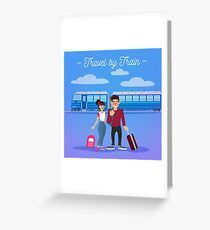 Train Travel. Travel Banner. Tourism Industry. Active People. Girl with Baggage. Man with Baggage. Happy Couple Greeting Card