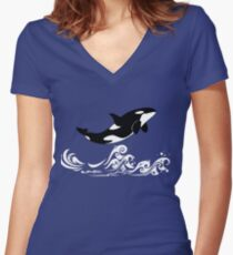 Orcas, killer whale Women's Fitted V-Neck T-Shirt
