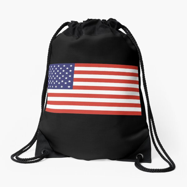 Drawstring Backpack American Flag Stripes Bags