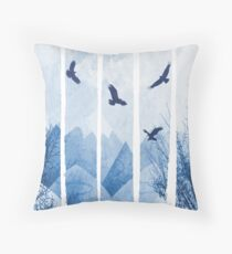 Eagles, Mountains, Grunge Landscape Throw Pillow