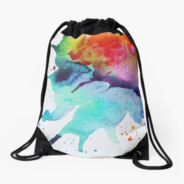 Rainbow Chakra Watercolor Splash Drawstring Bag