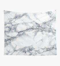 Marble White Dark Blue Pattern Wall Tapestry