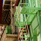 Green Fire Escape - Chinatown San Francisco California by Buckwhite