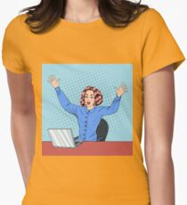 Woman with Laptop. Business Woman. Woman at Work. Happy Woman. Modern Lifestyle. Beautiful Woman. Office Life. Pop Art Banner Womens Fitted T-Shirt