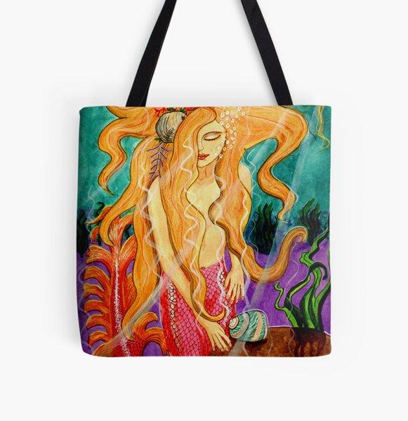 Sanibel Siren - Mermaid Fantasy Art All Over Print Tote Bag