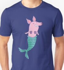 Mermaid Pig - Blue Unisex T-Shirt