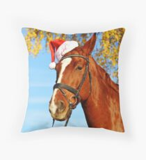 Funny Santa Hat Horse Christmas Throw Pillow