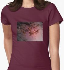 cherry blossoms in the sun, red tint Women's Fitted T-Shirt