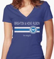 EPL - Brighton & Hove Albion (Home Blue) Women's Fitted V-Neck T-Shirt