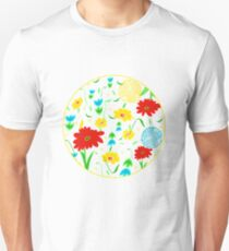 Spring Tossed Flowers on White Background Unisex T-Shirt