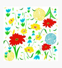 Spring Tossed Flowers on White Background Photographic Print