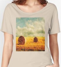 watercolor rural landscape country wheat fields hay bales  Women's Relaxed Fit T-Shirt
