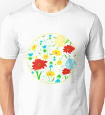 Spring Tossed Flowers on Pastel Yellow Background Unisex T-Shirt