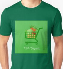 Organic Food. Healthy Food. Vegetables in Shopping Cart. Tomato, Potatoes, Cabbage, Carrot. 100% Organic. Vector illustration Unisex T-Shirt